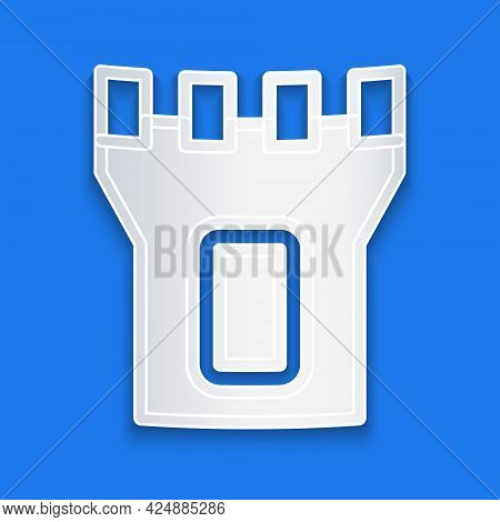 Paper Cut Castle Tower Icon Isolated On Blue Background. Fortress Sign. Paper Art Style. Vector