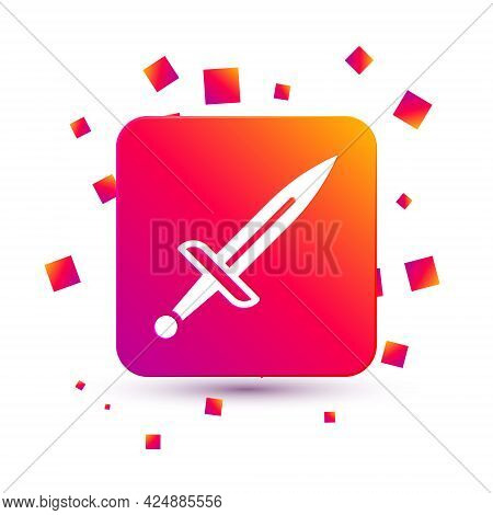 White Dagger Icon Isolated On White Background. Knife Icon. Sword With Sharp Blade. Square Color But