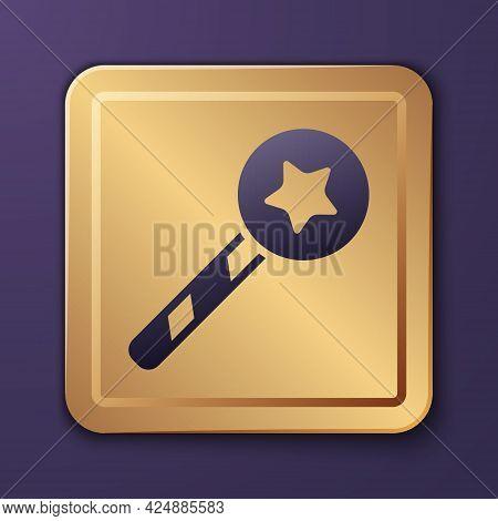 Purple Magic Wand Icon Isolated On Purple Background. Star Shape Magic Accessory. Magical Power. Gol