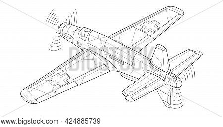 Adult Military Jet Coloring Page For Book And Drawing. Airplane. War-plane. Aircraft.vector Illustra