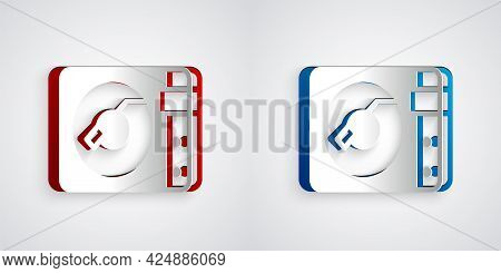 Paper Cut Vinyl Player With A Vinyl Disk Icon Isolated On Grey Background. Paper Art Style. Vector