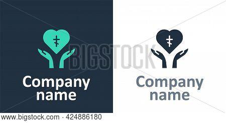 Logotype Religious Cross In The Heart Inside Icon Isolated On White Background. Love Of God, Catholi