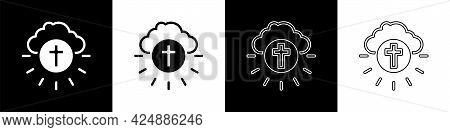 Set Religious Cross In The Circle Icon Isolated On Black And White Background. Love Of God, Catholic