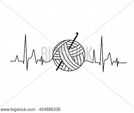 Simple Minimalist Knitting, Crochet Design With Heartbeat. Vector Image Illustration. Knit Logo Conc