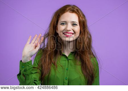 Friendly Woman Waving Hand - Hello, Or Goodbye, Chao, Adios. Parting, Say Bye To Camera. Beautiful G