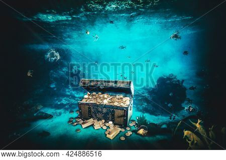 casket containing gold bars and coins at the bottom of the sea. 3d render.