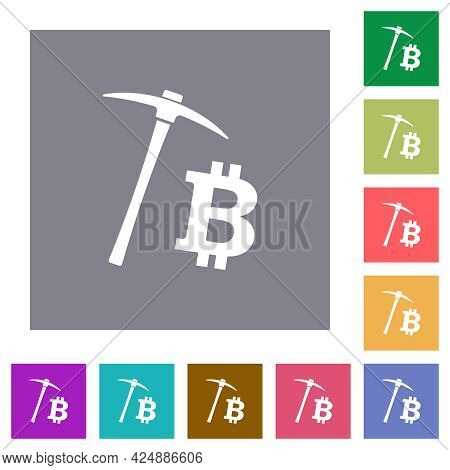 Bitcoin Cryptocurrency Mining Flat Icons On Simple Color Square Backgrounds