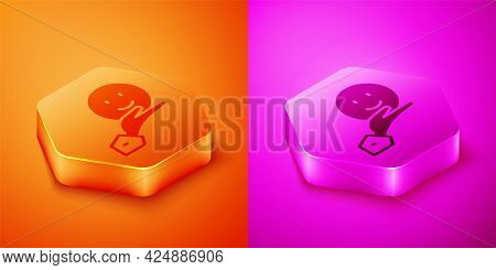 Isometric Happy Friendship Day Icon Isolated On Orange And Pink Background. Everlasting Friendship C