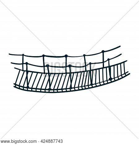 Line Drawing Rope Suspension Bridge. Hand Drawn Vintage Hanging Bridge Isolated Vector Illustration