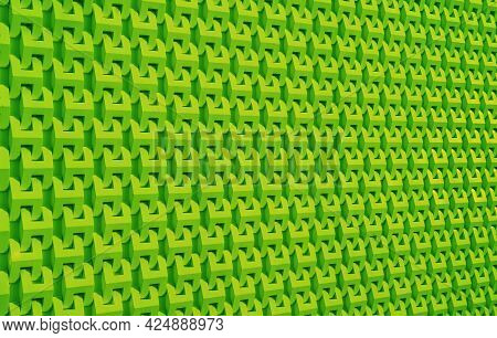 Vibrant Lime Green Color Diminishing Perspective Pattern For Abstract Background