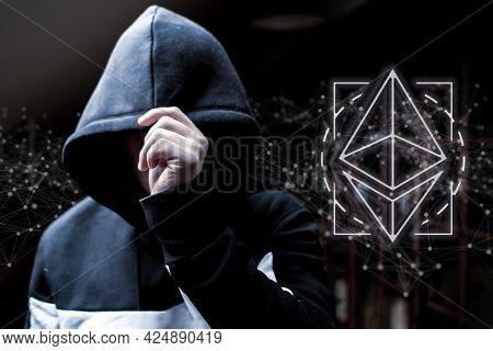 Silhouette Of Man Head On Dark Black Background With Lighten Circuit Contour F