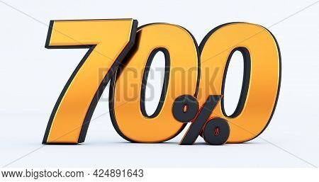 Seven Hundred 700% Off On Sale. Gold Percent Isolated On White Background. 3d Render Of A Gold Seven