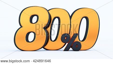 Eight Hundred 800% Off On Sale. Gold Percent Isolated On White Background. 3d Render Of A Gold Eight