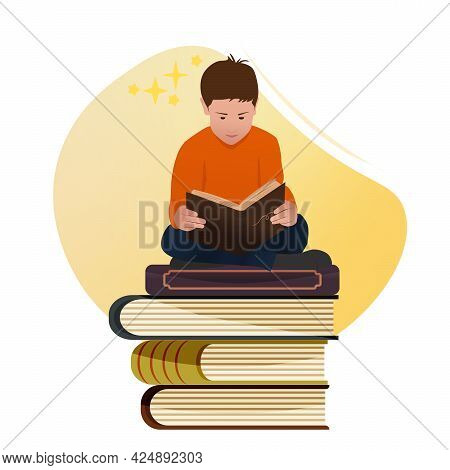 Happy Boy Sitting On Stack And Reading An Old Storybook Vector Illustration. Cartoon Flat Character