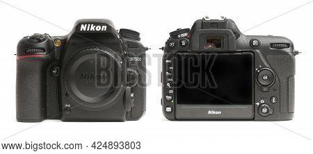 Carrara, Italy - June 26, 2021 - Front And Back View Of A D7500 Nikon Dslr Camera Body