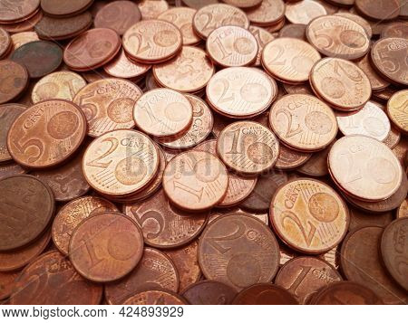 Euro Cent  Coins Background.  Vintage Style Photo Of Money.