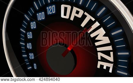 Optimize Speedometer Improve Increase Perfect Level State 3d Illustration