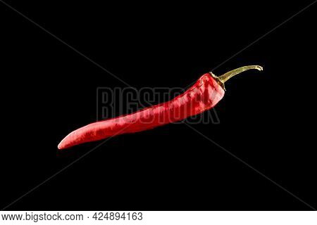 Pepper Chili. Red Hot Chili Paprika Or Spicy Chile Cayenne Pepper Isolated On Black Background. Ingr