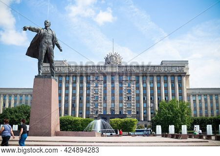 Statue Of Vladimir Lenin On Moscow Square In Front Of The House Of Soviets, Summer Sunny Day, Blue S