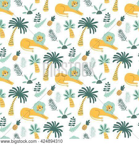African Childish Pattern. Lion Wild Animal, Jungle Palm Tree, Cute Tropical Palms Background. Cartoo