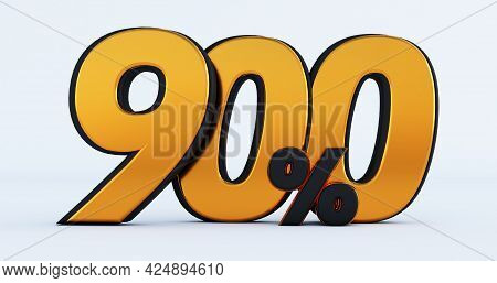 Nine Hundred 900% Off On Sale. Gold Percent Isolated On White Background. 3d Render Of A Gold Nine H