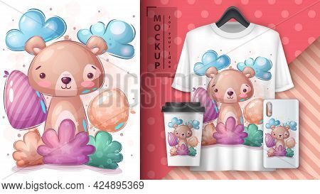 Bear In Bush Poster And Merchandising. Vector Eps 10