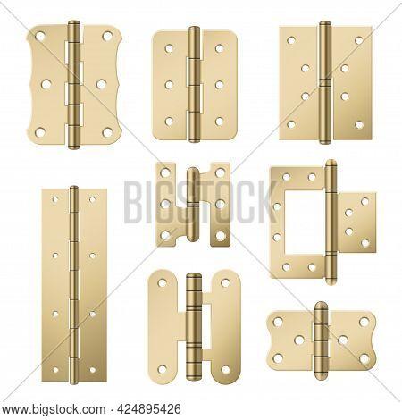 Set Brass Door Hinges Vector Illustration Golden Metallic Equipment For Attached Construction
