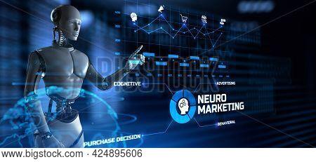 Neuromarketing Cognitive Advertising Technology Concept. Robot Pressing Virtual Button 3d Render Ill