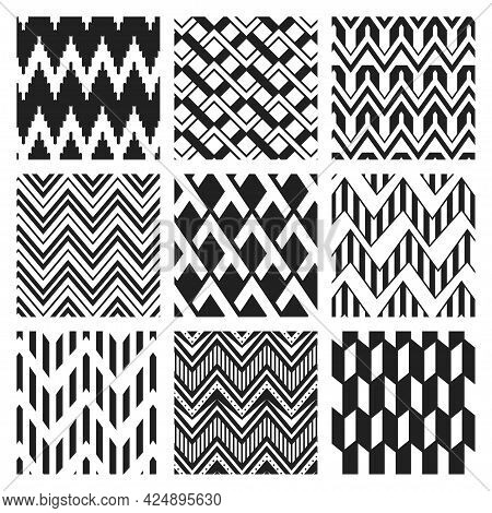 Monochrome Zig Zag Seamless Pattern Vector Flat Illustration Black And White Abstract Zigzag Line
