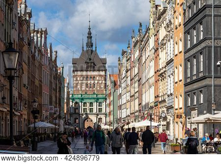 Gdansk, Poland - Sept 6, 2020: View Of The Golden Gate, Prison Tower And Tourists And Local People S