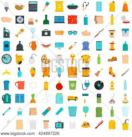 Garbage Icons Set. Flat Set Of Garbage Vector Icons Isolated On White Background