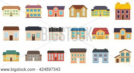 Cottage Icons Set. Flat Set Of Cottage Vector Icons Isolated On White Background