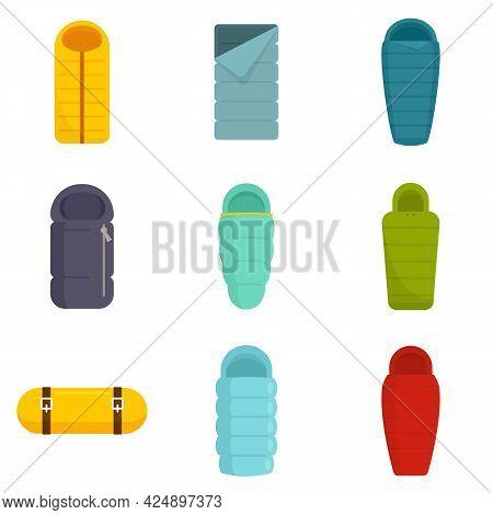 Sleeping Bag Icons Set. Flat Set Of Sleeping Bag Vector Icons Isolated On White Background
