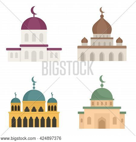 Mosque Icons Set. Flat Set Of Mosque Vector Icons Isolated On White Background
