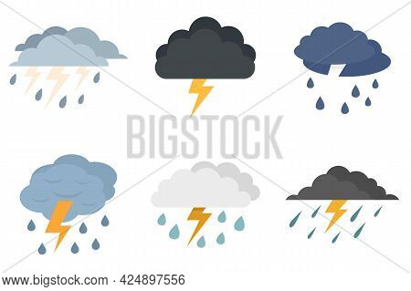 Thunderstorm Icons Set. Flat Set Of Thunderstorm Vector Icons Isolated On White Background