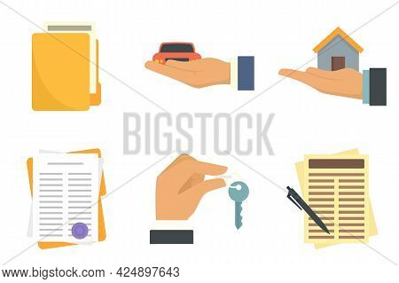 Lease Icons Set. Flat Set Of Lease Vector Icons Isolated On White Background