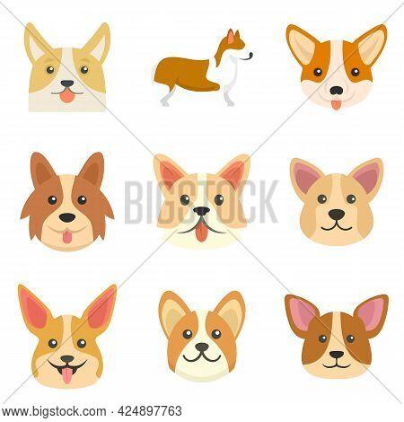 Corgi Dogs Icons Set. Flat Set Of Corgi Dogs Vector Icons Isolated On White Background