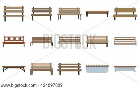 Bench Icons Set. Flat Set Of Bench Vector Icons Isolated On White Background