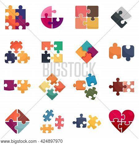 Jigsaw Icons Set. Flat Set Of Jigsaw Vector Icons Isolated On White Background
