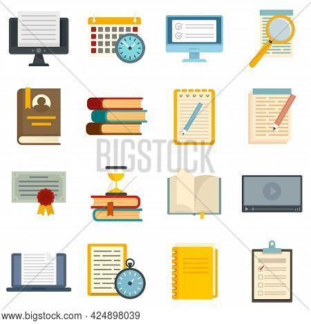 Preparation For Exams Icons Set. Flat Set Of Preparation For Exams Vector Icons Isolated On White Ba