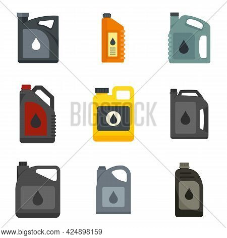 Motor Oil Icons Set. Flat Set Of Motor Oil Vector Icons Isolated On White Background