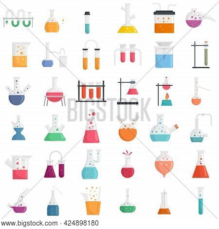 Chemical Laboratory Experiment Icons Set. Flat Set Of Chemical Laboratory Experiment Vector Icons Is