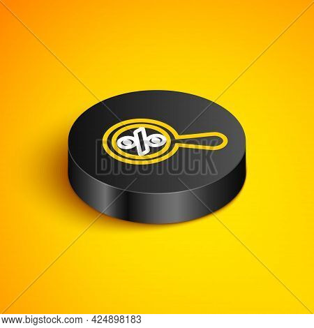 Isometric Line Magnifying Glass With Percent Discount Icon Isolated On Yellow Background. Discount O
