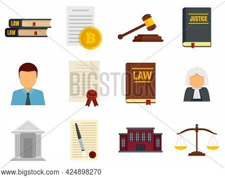 Legislation Icons Set. Flat Set Of Legislation Vector Icons Isolated On White Background
