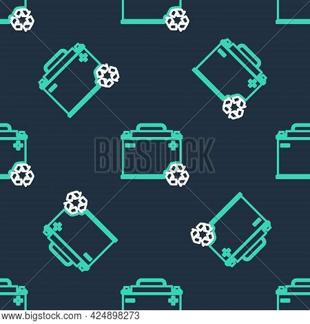 Line Car Battery With Recycle Icon Isolated Seamless Pattern On Black Background. Accumulator Batter