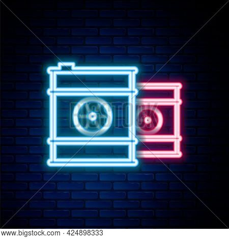 Glowing Neon Line Radioactive Waste In Barrel Icon Isolated On Brick Wall Background. Toxic Refuse K