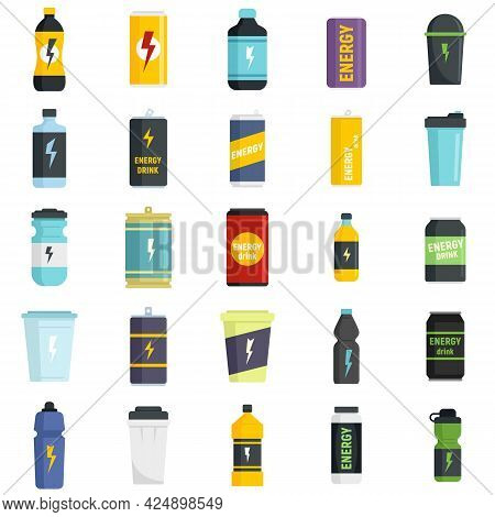 Energetic Drink Icons Set. Flat Set Of Energetic Drink Vector Icons Isolated On White Background