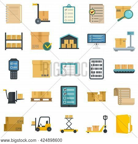 Inventory Icons Set. Flat Set Of Inventory Vector Icons Isolated On White Background