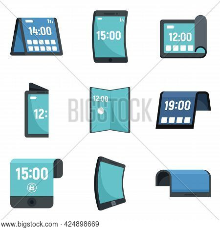 Flexible Display Icons Set. Flat Set Of Flexible Display Vector Icons Isolated On White Background