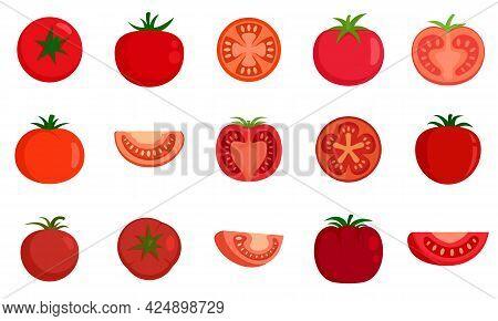 Tomato Icons Set. Flat Set Of Tomato Vector Icons Isolated On White Background
